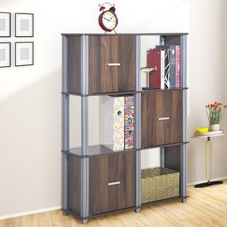 Costway 3 Tiers 6 Cubes Storage Cabinet Shelf Organizer Unit Display Bookcase W/3 Door - Walnut