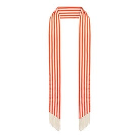 Ladies Red and White Striped Skinny Scarf with Fringe