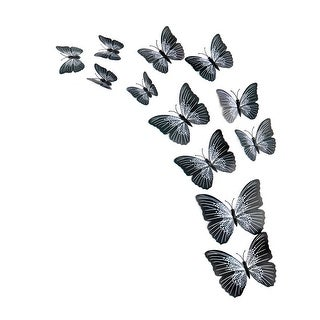 12pcs 3D Butterfly Wall Stickers Decal Sticker for Room Decoration Black