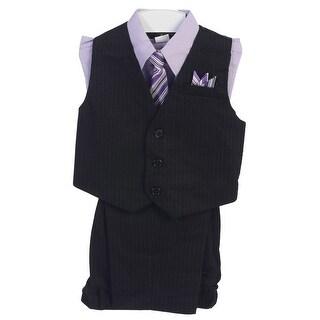 Angels Garment Boys Lilac 4 Piece Pin Striped Vest Set Suit 8-20