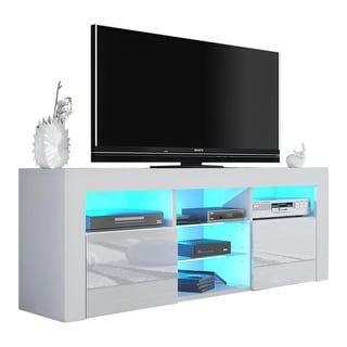 "Milano 145 Modern 57"" TV Stand Matte Body High Gloss Fronts with 16 Color LEDs"