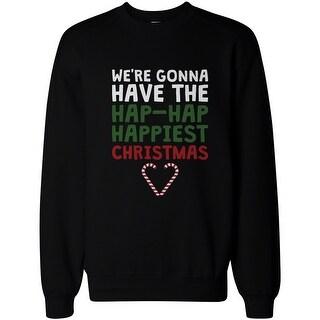 Hap-Hap Happiest Christmas Heart Candy Cane Sweatshirt Holiday Pullover Fleece