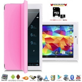 Indigi® 7.0inch Factory Unlocked 2-in-1 Android 4.4 Smartphone + TabletPC w/ Built-in Smart Cover (Pink) + 32gb microSD