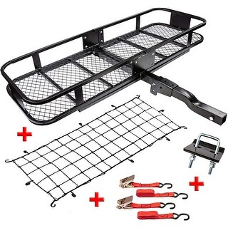 RaxGo Hitch Mount Cargo Carrier Set with 60 x 20 x 6 Steel Hitch Hauler Basket
