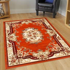 """AllStar Rugs Rust Woven & Hand Classic Persian Design Area Rug. Size: 7'9"""" x 10'5"""""""