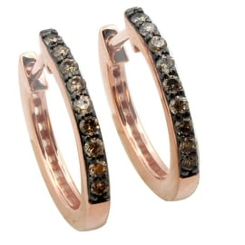 Brand New 0.25 Carat Natural Brown Diamond Hoop Earring With 14k Posts