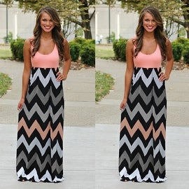 Womens Summer Zig Zag Pattern Sleeveless Tank Beach Dress Sundress