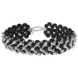 Chevron Right Angle Weave Bracelet - Black/Silver - Exclusive Beadaholique Jewelry Kit
