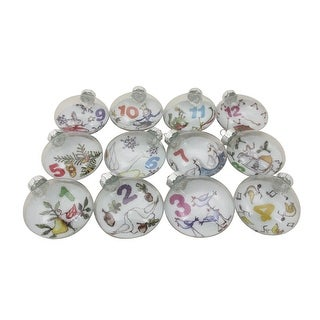 12ct Clear and White Twelve Days of Christmas Glass Disc Ornaments 3""