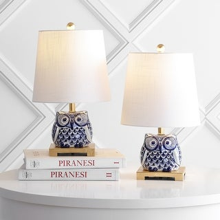 """Justina 16"""" Ceramic Table Lamp, Blue/White, Set of 2 by JONATHAN Y"""
