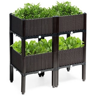 Costway Set of 4 Raised Garden Bed Elevated Flower Vegetable Herb Grow