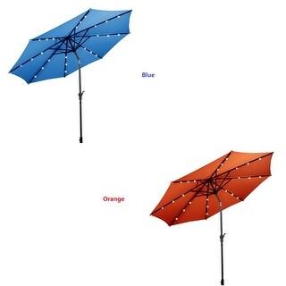 Costway 10FT Patio Solar Umbrella LED Patio Market Steel Tilt W/Crank