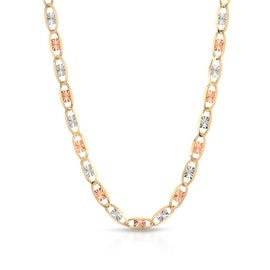 14K THREE TONE, YELLOW GOLD, WHITE GOLD, ROSE GOLD NECKLACE (1.4MM)