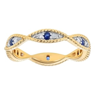 10k Yellow Gold 1/4ct Blue Sapphire and Diamond Evil Eye Vintage Eternity Band Ring by - White H-I