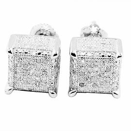 0.3cttw Diamond Earrings Cubes 10K White Gold Square 9mm Wide Screw Back Mens