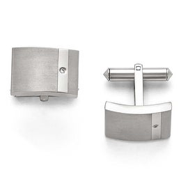 Chisel Titanium Brushed and Polished Clear CZ Cuff Links