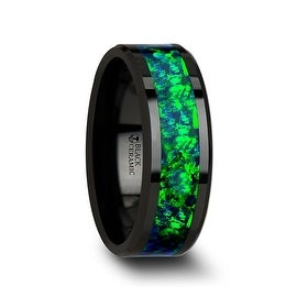 PULSAR Black Ceramic Wedding Band with Beveled Edges and Emerald Green & Sapphire Blue Color Opal Inlay