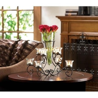Stunning Scrollwork Candle Centerpiece with Vase - Black