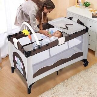 Coffee Baby Crib Playpen Playard Pack Travel Infant Bassinet Bed