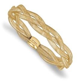 Italian 14k Gold Fancy Stretch Bangle Bracelet