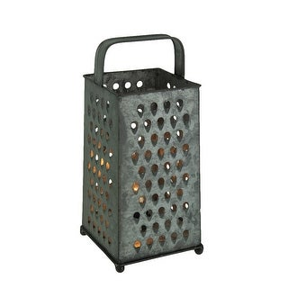 Metal Galvanized Cheese Grater Rustic Accent Lamp - 9.5 X 4.25 X 4.25 inches