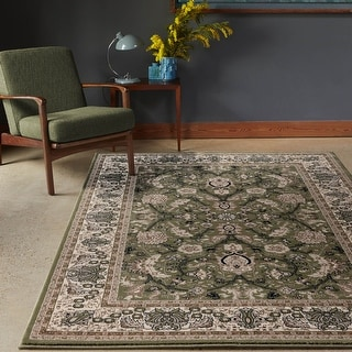 Hollywood Collection Green/Beige Area Rug