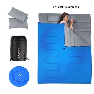 Goplus Double 2 Person Sleeping Bag Waterproof w/ 2 Pillows Camping - Queen
