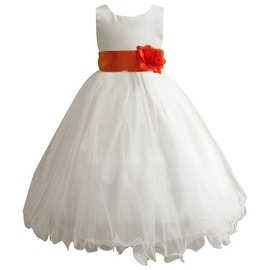 Wedding Easter Flower Girl Dress Wallao Ivory Rattail Satin Tulle (Baby - 14) Orange