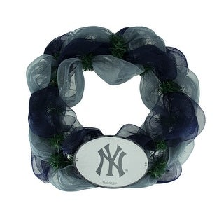MLB New York Yankees Logo Mesh Holiday Door Wreath - Multicolored - 19.5 X 19.5 X 3.5 inches
