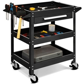 Costway Three Tray Rolling Tool Cart Mechanic Cabinet Storage ToolBox