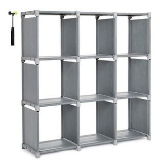 Kanstar 9 Cube DIY Cube Storage Shelves Open Bookshelf Closet Organizer Rack Cabinet Grey