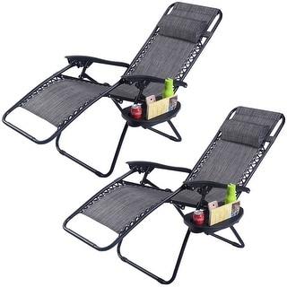 Costway 2PC Folding Zero Gravity Reclining Lounge Chairs Beach Patio