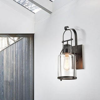 Belinda Antique Black Finish Rustic Wall Sconce Lantern with Clear Glass Shade
