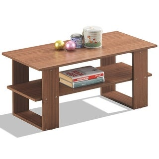 Gymax Rectangular Accent Coffee Table w/ Storing Shelf Living Room