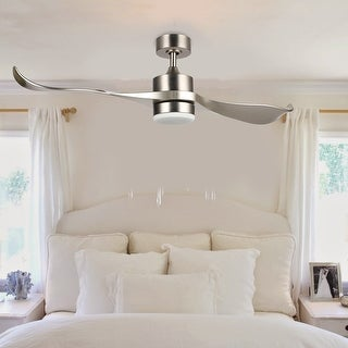 """CO-Z 52"""" 2-blade Reversible Ceiling Fan with LED Light Kit and Remote Control-Nickel and Natural Walnut"""