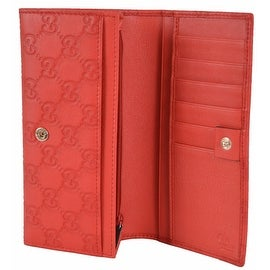 New Gucci 305282 GG Guccissima Coral Red Leather W/Coin Pocket Wallet Clutch