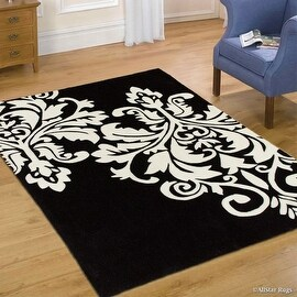 "AllStar Black Hand Made Transitional Floral Design Area Rug with Dimensional Hand-Carving Highlights Damask (4' 11"" x 6' 11"")"