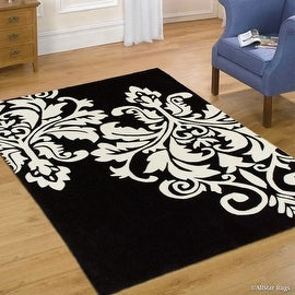 "AllStar Rugs Black Hand Made Transitional Floral Design Area Rug with Dimensional Hand-Carving Highlights Damask (7' x 10' 2"")"