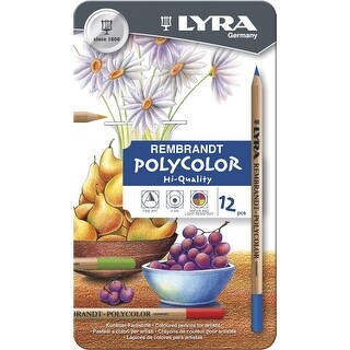 Lyra Rembrandt Polycolor Colored Pencils, Assorted Colors, Set of 12