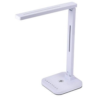 Qi Wireless Charger LED Desk Lamp, Adjustable, Dimmable, Touch Sensitive, USB Charging, 12W, 450 Lumens, White
