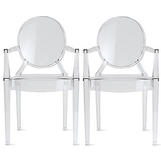 2xhome Set of 2 Dining Chair with Arms Molded Transparent Stacking Plastic For Home Restaurant Office Desk Kitchen
