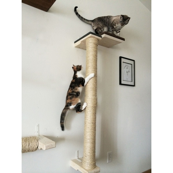 Cat climbing sisal pole 4 foot tall handcrafted sisal wood wall mounted cat tree shelving - Wall mounted cat climber ...