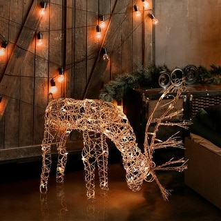 Alpine Grazing Rattan Reindeer with 50 Plug In Halogen Lights, 25 Inch Tall