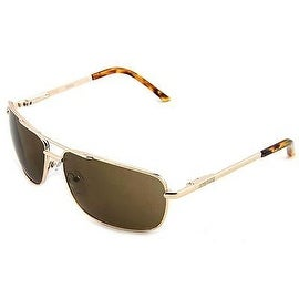 Kenneth Cole Reaction Mens Gold Brown Rectangle Metal Sunglass KC1076 772