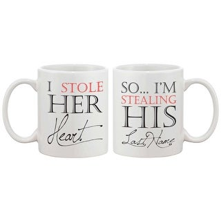 I Stole Her Heart, So I'm Stealing His Last Name Couple Mugs - His and Hers Matching Coffee Mug Cup Set - Wedding Gift