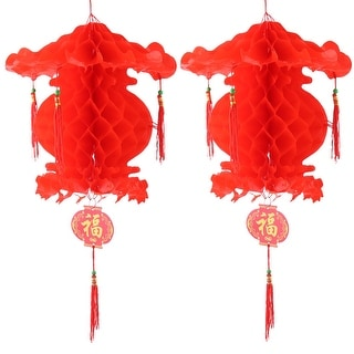 Plastic Self-adhesive String Hanging Lantern Lamp Light Decor Red 30 x 30cm 2pcs
