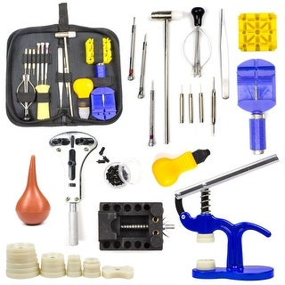 Watch Repair Tool Kit Case Opener Link Remover Spring Bar Hammer w/Carrying Case