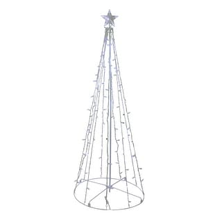 5' Blue and White LED Lighted Twinkling Show Cone Christmas Tree Outdoor Decor