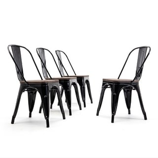 BELLEZE Stackable Bistro Dining Chairs Set of (4) Wood Stool, Black - standard