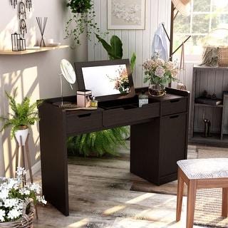 Furniture of America Lity Contemporary Espresso Vanity with Mirror